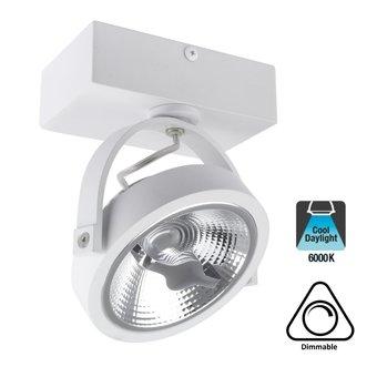 Opbouw LED Spot AR111, 15w, 800 Lumen, 6000K Daglicht Wit, Dimbaar, Wit Armatuur, 3 Jaar Garantie