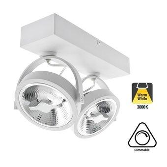 Opbouw LED Spot 2x AR111, 30w, 1600 Lumen, 3000K Warm Wit, Dimbaar, Wit Armatuur, 3 Jaar Garantie