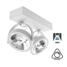 Opbouw LED Spot 2x AR111, 30w, 1600 Lumen, 4000K Neutraal Wit, Dimbaar, Wit Armatuur, 3 Jaar Garantie