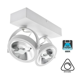 Opbouw LED Spot 2x AR111, 30w, 1600 Lumen, 6000K Daglicht wit, Dimbaar, Wit Armatuur, 3 Jaar Garantie