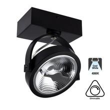 Opbouw LED Spot AR111, 15w, 800 Lumen, 4000K Neutraal Wit, Dimbaar, Zwart Armatuur, 3 Jaar Garantie