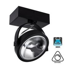 Opbouw LED Spot AR111, 15w, 800 Lumen, 6000K Daglicht Wit, Dimbaar, Zwart Armatuur, 3 Jaar Garantie