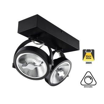 Opbouw LED Spot 2x AR111, 30w, 1600 Lumen, 3000K Warm Wit, Dimbaar, Zwart Armatuur, 3 Jaar Garantie
