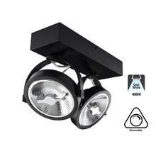 Opbouw LED Spot 2x AR111, 30w, 1600 Lumen, 4000K Neutraal Wit, Dimbaar, Zwart Armatuur, 3 Jaar Garantie