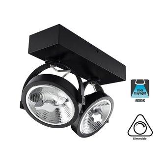Opbouw LED Spot 2x AR111, 30w, 1600 Lumen, 6000K Daglicht wit, Dimbaar, Zwart Armatuur, 3 Jaar Garantie