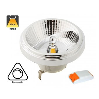 G53 AR111 LED Spot 12w, 700 Lumen, 2700K Warm Wit, 45°, Incl. Led Driver, Dimbaar, 3 Jaar Garantie