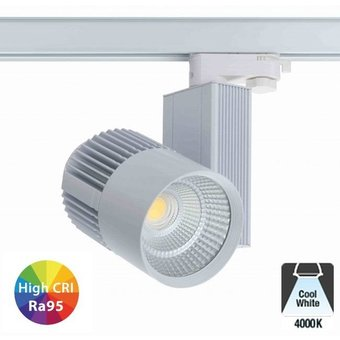 3 Fase Rail Spot 30w, 2775 Lumen, 4000K Neutraal wit, High CRI95, Wit body, 5 Jaar Garantie