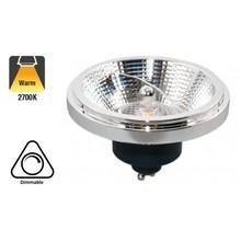 GU10 AR111 LED Spot 12w Zwart, 700 Lumen, 2700K Warm Wit, 45°, Dimbaar, 3 Jaar Garantie