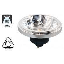GU10 AR111 LED Spot 12w Zwart, 840 Lumen, 4000K Neutraal Wit, 45°, Dimbaar, 2 Jaar Garantie