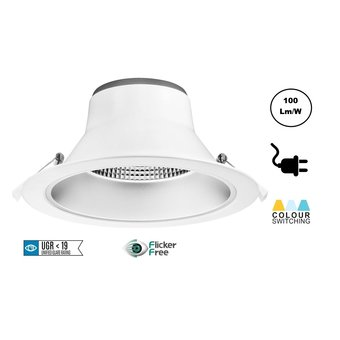 CCT Reflector Led Downlighter 20w, 1700-2000 Lumen, gatmaat Ø195mm, UGR19, Stekkerklaar, 3 Jaar Garantie