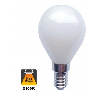 E14 Filament Bollamp 1,6w Milky, 140 Lumen, 2100K Flame, 2 Jaar Garantie