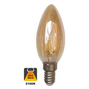 E14 Filament Kaarslamp 1,6w Amber, 150 Lumen, 2100K Flame, 2 Jaar Garantie