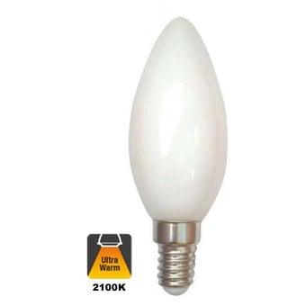 E14 Filament Kaarslamp 1,6w Milky, 150 Lumen, 2100K Flame, 2 Jaar Garantie