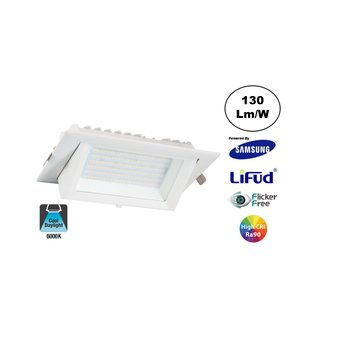 LED Etalage Spot 20w, 6000K Daglicht Wit, 2600 lm (130lm/w), Samsung LED, Lifud Driver, Gatmaat 230x130mm, CRI90, Wit, 3 Jaar Garantie