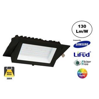 LED Etalage Spot 20w, 3000K Warm Wit, 2600 lm (130lm/w), Samsung LED, Lifud Driver, Gatmaat 230x130mm, CRI90, Zwart, 3 Jaar Garantie