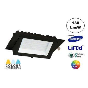 LED Etalage Spot 20w, CCT (3000K/4000K/6000K), 2600 lm (130lm/w), Samsung LED, Lifud Driver, Gatmaat 230x130mm, CRI90, Zwart, 3 Jaar Garantie