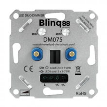 Blinq Universele DUO LED Dimmer 2x 3-75w met elektronische zekering