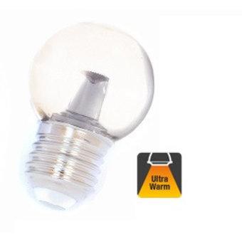 E27 1w Bol Lamp, 32 Lumen, Transparante Kap met lens, 2000K Flame