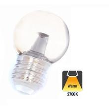 E27 1w Bol Lamp, 32 Lumen, Transparante Kap met lens, 2650K Warm Wit