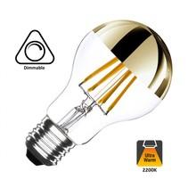 E27 6w Filament Bol lamp dimbaar (A60)met gouden spiegel , 2 Jaar Garantie