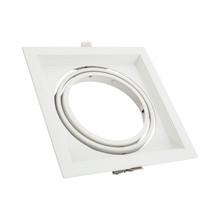 Inbouw AR111 Spot Armatuur, Wit, Vierkant, Draai/Kantelbaar, Gatmaat 160x160mm, (1x AR111 Spot)