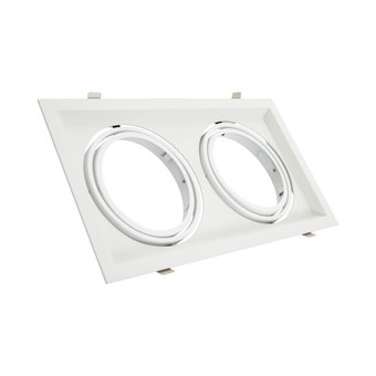 Inbouw AR111 Spot Armatuur, Wit, Rechthoekt, Draai/Kantelbaar, Gatmaat 160x310mm, (2x AR111 Spot)