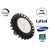 Samsung High Bay Led Ufo 150w, 21750 Lumen, 6000K Daglicht Wit, IP65, Lifud Driver, Dimbaar, 5 Jaar Garantie