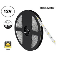 Led Strip ROL 5 Meter 5050SMD, 4,8w/m, 30 led/m, 400Lm/m, 3000K Warm wit, 12v, IP65, 10mm, 2 Jaar garantie