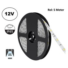 Led Strip ROL 5 Meter 5050SMD, 4,8w/m, 30 led/m, 400Lm/m, 4000K Neutraal wit, 12v, IP65, 10mm, 2 Jaar garantie