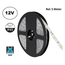Led Strip ROL 5 Meter 5050SMD, 4,8w/m, 30 led/m, 400Lm/m, 6000K Daglicht wit, 12v, IP65, 10mm, 2 Jaar garantie