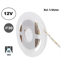 Led Strip ROL 5 Meter 5050SMD, 12,6w/m, 60 led/m, 1200Lm/m, 4000K Neutraal wit, 12v, IP20, 10mm, 2 Jaar garantie