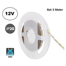 Led Strip ROL 5 Meter 5050SMD, 12,6w/m, 60 led/m, 1200Lm/m, 6000K Daglicht wit, 12v, IP20, 10mm, 2 Jaar garantie