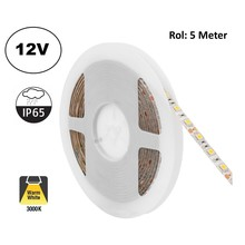 Led Strip ROL 5 Meter 5050SMD, 12,6w/m, 60 led/m, 1200Lm/m, 3000K Warm wit, 12v, IP65, 10mm, 2 Jaar garantie