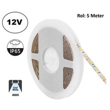 Led Strip ROL 5 Meter 5050SMD, 12,6w/m, 60 led/m, 1200Lm/m, 4000K Neutraal wit, 12v, IP65, 10mm, 2 Jaar garantie