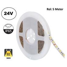 Led Strip ROL 5 Meter 5050SMD, 13,6w/m, 60 led/m, 1320Lm/m, 3000K Warm wit, 24v, IP65, 10mm, 2 Jaar garantie