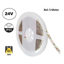 Led Strip ROL 5 Meter 2835SMD, 10,5w/m, 120 led/m, 1100Lm/m, 3000K Warm wit, 24v, IP65, 8mm, 2 Jaar garantie