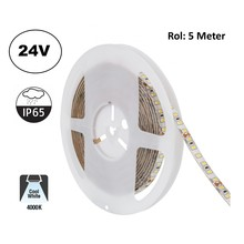 Led Strip ROL 5 Meter 2835SMD, 10,5w/m, 120 led/m, 1100Lm/m, 4000K Neutraal wit, 24v, IP65, 8mm, 2 Jaar garantie