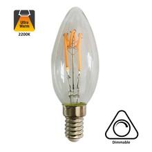 E14 Filament Kaarslamp 4w, H Spiraal, 180 Lumen, Dimbaar, 2 jaar garantie