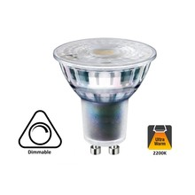 GU10 5,5w, 440 Lumen, 2200K Flame, Glas, Dimbaar 2 Jaar Garantie