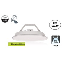 SpaceLux High Bay Led Ufo 100w, 12000 Lumen, 4000K Neutraal Wit, IP65, 3-Steps-dimming, 5 Jaar Garantie