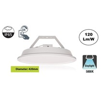 SpaceLux High Bay Led Ufo 100w, 12000 Lumen, 5000K Puur Wit, IP65, 3-Steps-dimming, 5 Jaar Garantie
