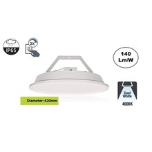 SpaceLux High Bay Led Ufo 120w, 16800 Lumen (Pro High Lumen), 4000K Neutraal Wit, IP65, 3-Steps-dimming, 5 Jaar Garantie