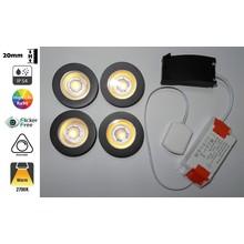 Inbouw LED Spot 4x3w CAB, 4x270 Lumen, 2700K, IP54, Dimbaar, CRI90, Zwart Armatuur, Gatmaat 55mm, 2 Jaar Garantie