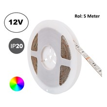 Led Strip ROL 5 Meter 5050SMD, 13,6w/m, 60 led/m, RGB, 12v, IP20, 10mm, 2 Jaar garantie