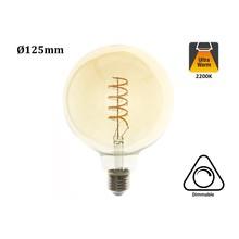 E27 Led Lamp 4w Edison, Globe 125, 2200K Flame, 180 Lumen, Dimbaar, Amber Glas, 2 Jaar Garantie