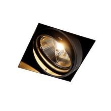 Trimless Inbouw Spot Armatuur, gatmaat 157x157mm, Zwart, incl. Stucrand (1x GU10 AR111 spot)