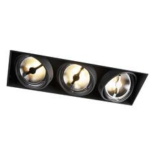 Trimless Inbouw Spot Armatuur, gatmaat 450x157mm, Zwart, incl. Stucrand (3x G53 AR111 spot)