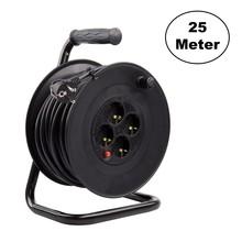 Kabelhaspel 25 meter + 4x Schuko 16A 220-250VAC , Snoerdikte: 3x 1,5mm2, Max: 1100/ 3200W, IP20, inclusief kinderbeveiliging en overspanningsbeveiliging