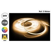 Led Strip ROL 5 Meter COB, 8,8w/m, 320 led/m, 880Lm/m, 3000K Warm wit, CRI90, 24v, IP33, 8mm, 2 Jaar garantie