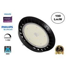 High Bay Led Ufo Xitanium 150w, 28500 Lumen, 6000K Daglicht Wit, IP65, Philips Driver en LumiLeds, 1-10v Dimming, 5 Jaar Garantie